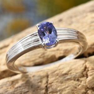 Tanzanite Platinum Over Sterling Silver Solitaire